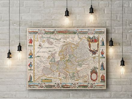 Nicolas Visscher: Map of Europe. Fine Art Canvas.